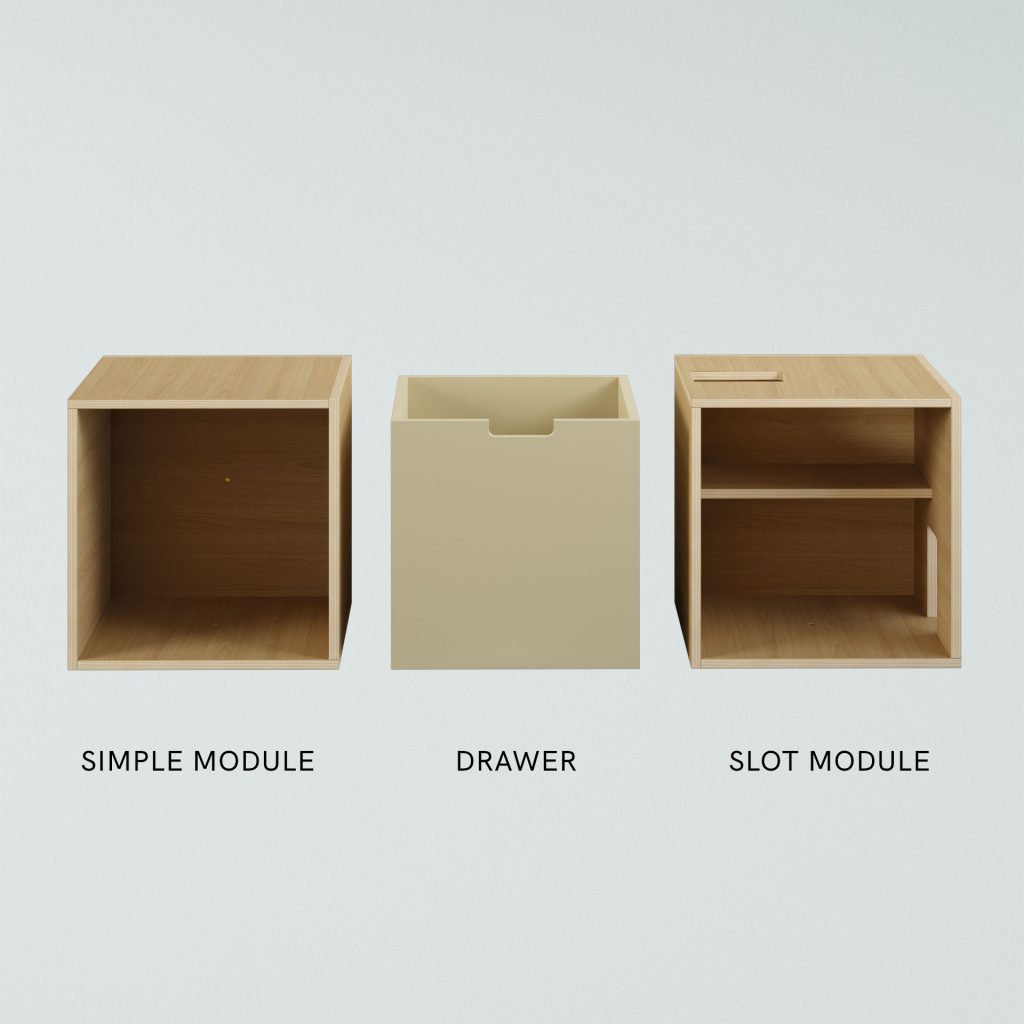 RISCA MODULAR SERIES crafted from natural ash or oak veneer plywood