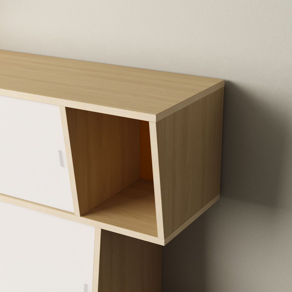 SIDEBOARD S*2 a versatile two-sided ash or oak veneer plywood unit