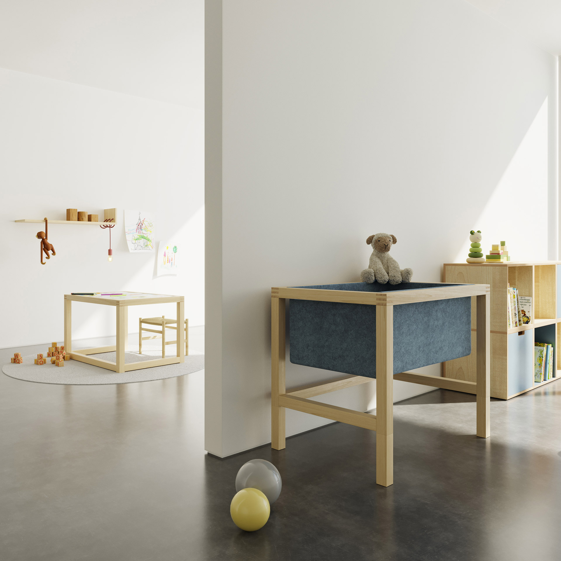N+L CONVERTIBLE SERIES consists of a baby cradle and a height adjustable drawing table